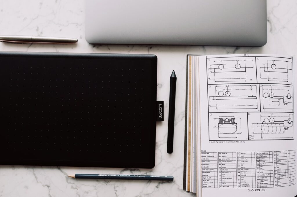 A Wacom graphics tablet used for technical drawings