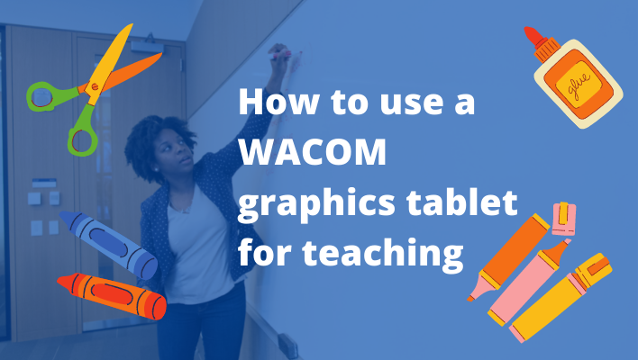 teacher using a wacom graphics tablet in the classroom